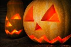 Lanterne di Jack o della zucca di Halloween Fotografia Stock
