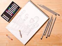 Lanterne disegnate a mano su Libro Bianco Immagini Stock