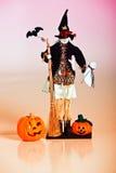 Lanterne e strega di Halloween Jack O Fotografia Stock