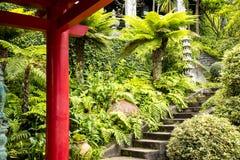 Lanterne en pierre dans un beau jardin chez Monte au-dessus de Funchal Madère Photos stock