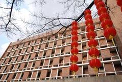 Lanterne et appartement rouges illustration stock