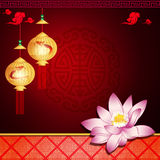 Lanterne et lotus avec l'espace pour le texte ou l'image Photos stock