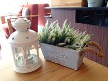 Lanterne et pot de fleurs décorés Images libres de droits