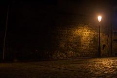 Lanterne et vieux trottoir de brique Photos stock