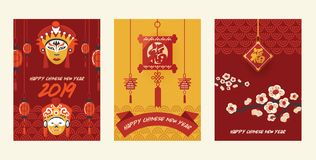 Lanterne-lumière rouge traditionnelle de vecteur chinois de lanterne et décoration orientale de culture de porcelaine pour la cél illustration libre de droits