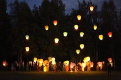 lanterne nel cielo Immagine Stock