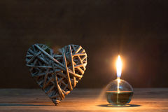 Lanterne romantique sur le fond de lumières Photos libres de droits
