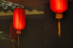 Lanterne rosse di una casa di tè Immagine Stock Libera da Diritti