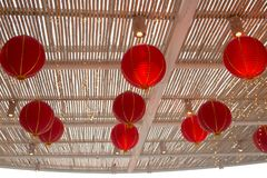 Lanterne rouge chinoise en tant que symbole de nouvelle année Concept lunaire de vacances image libre de droits