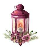 Lanterne traditionnelle de Noël d'aquarelle avec le décor floral Lanterne rouge peinte à la main avec la branche de sapin, fleur  Photo libre de droits