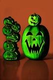 Lanterne verdi di Halloween Jack O Fotografia Stock Libera da Diritti