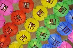 Lanternes chinoises au plafond du temple de Bongeunsa Photo libre de droits