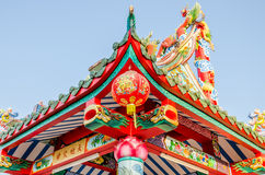 Lanternes chinoises dans un temple chinois Photos libres de droits