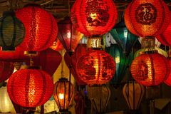 Lanternes chinoises rouges dans Chinatown Image libre de droits