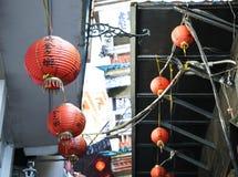 Lanternes chinoises rouges et belles Image stock