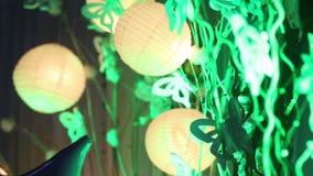 Lanternes chinoises sur le mariage banque de vidéos