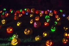 Lanternes colorées de ` de Halloween Jack O photos libres de droits