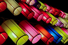 Lanternes colorées de tissu Images libres de droits