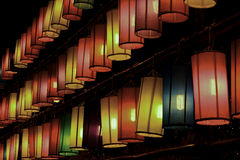 Lanternes colorées de tissu Photographie stock libre de droits