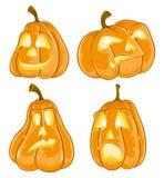Lanternes de Jack O de potirons de Halloween Photos stock