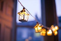 Lanternes de Noël brouillées Photo libre de droits