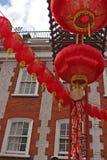 Lanternes de porte de Chinatown Images libres de droits