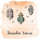 Lanternes de Ramadan Arabic avec le fond orange d'aquarelle Photographie stock