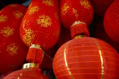Lanternes rouges chinoises Photographie stock