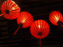 Lanterns. Four Chinese style lanterns on ceiling Royalty Free Stock Photo
