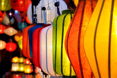 Lanterns. Coloured lanterns hanging in shop Royalty Free Stock Photography