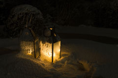 Lanterns. Candle lanterns in snow at night Stock Photo