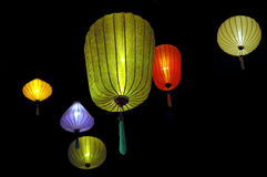 Lanterns. Lovely paper lanterns, all lit up for Chinese Moon Festival stock images