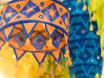 Lanterns. Colorful tasseled cloth lanterns use in decorations for the Hindu festival of Deepavali or Diwali, or popularly as the Festival of Lights Royalty Free Stock Images