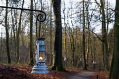 Lanterns along the route in Dutch Open Air Museum in Arnhem Stock Photography