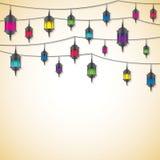 Lanterns. Arabic lantern card in vector format royalty free illustration