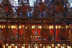 Lanterns and aromatic spirals at the Man Mo Temple Royalty Free Stock Photography