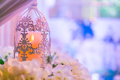 lanterns with candle in  wedding stage decoration . Royalty Free Stock Images