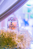 lanterns with candle in  wedding stage decoration . Royalty Free Stock Photography