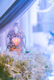 lanterns with candle in  wedding stage decoration . Stock Photo