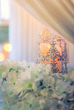 lanterns with candle in  wedding stage decoration . Royalty Free Stock Photo