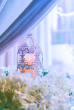 lanterns with candle in  wedding stage decoration . Stock Photos