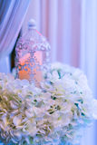 lanterns with candle in  wedding stage decoration . Royalty Free Stock Photos