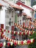 Lanterns in Chinatown. Strings of red and yellow lanterns were strung across the streets along Chinatown Singapore Royalty Free Stock Images