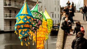 Lanterns. Colorful lanterns hanging by the riverside Royalty Free Stock Photo