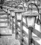 Lanterns on a fence Stock Photography