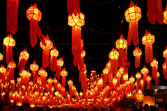 Lanterns at  festival of fire  in Chiang Mai Stock Photography