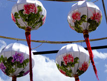 Lanterns with flowers drawn on it Royalty Free Stock Photo
