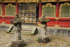 Lanterns in front of a temple building Royalty Free Stock Images