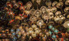 Lanterns at the Gran Bazaar, Istanbul, Turkey. Turkish tipical lanterns in a shop of the famous gran bazaar of Istanbul, Turkey. Exposition of different colours stock photo
