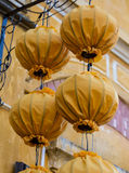 Lanterns hanging at old houses in Hoi An, Vietnam Stock Photo